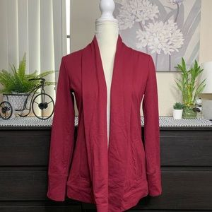 EUC | TALBOTS Red Pocket Open Cardigan XSMALL